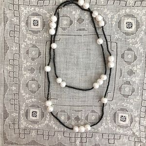 Black Chrystal and Pearl Layering Necklace
